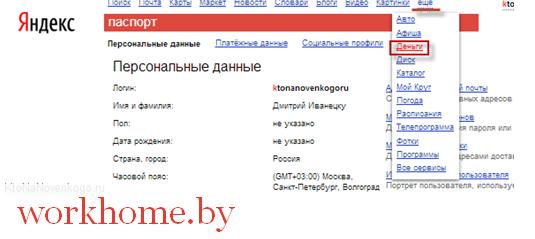 Ввод паспортных данных при регистрации Яндекс кошелька