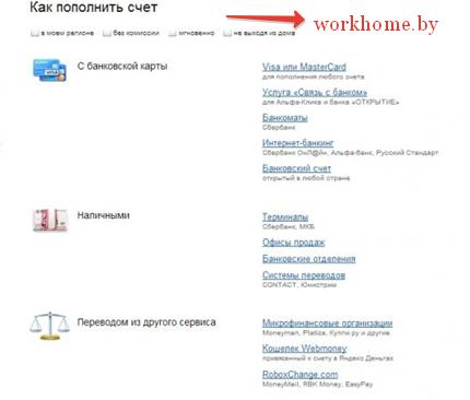 Способы пополнения Яндек кошелька