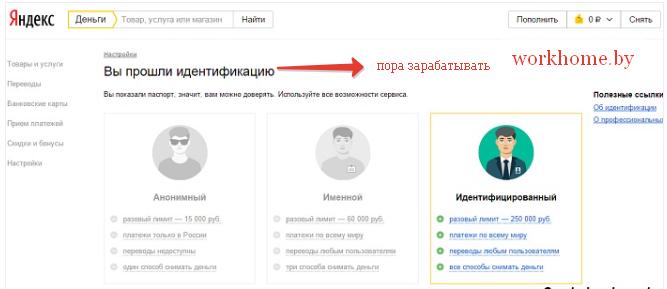 Идентификация кошелька Яндекс
